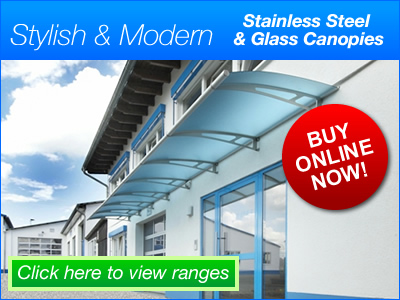 Modern stainless steel & acrylic glass canopies range
