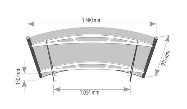1500mm Arched Door Canopy dimensions  sc 1 st  Classic Pvc Home Improvements & Arched stainless steel and acrylic glass canopy technical drawings
