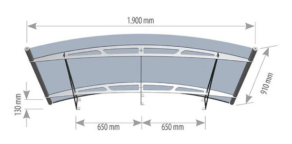 Arched Stainless Steel And Acrylic Glass Canopy Technical