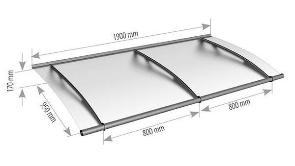 1900mm stainless steel and glass canopy technical drawing  sc 1 st  Classic Pvc Home Improvements & Modern porches stainless steel and acrylic glass canopies door ...